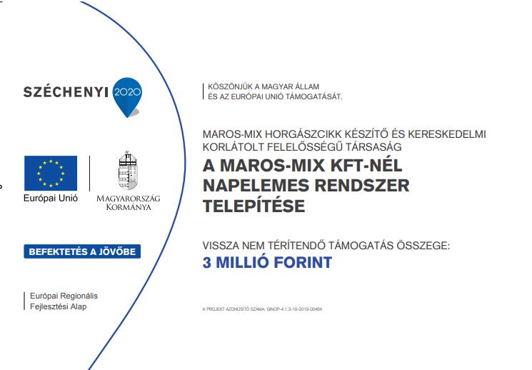 Széchenyi 2020 - Napelem telepítése a Maros Mix Kft-nél